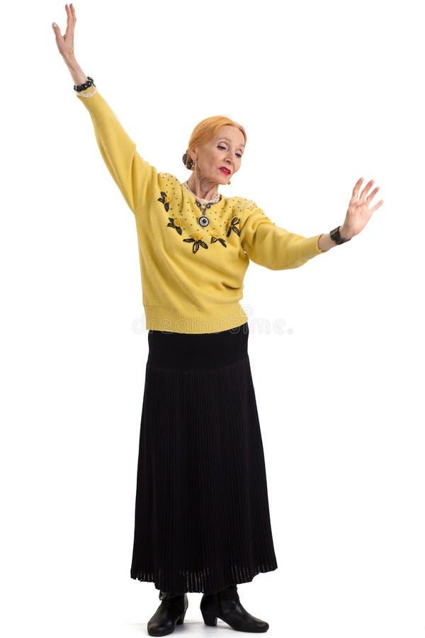 A dança superior da mulher isolou-se foto de stock royalty free