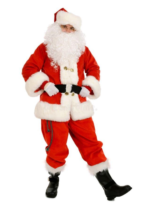 Dança tradicional de Santa Claus que guarda sua correia imagens de stock