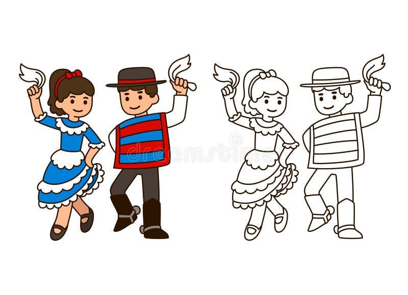 Dança tradicional do Chile ilustração royalty free