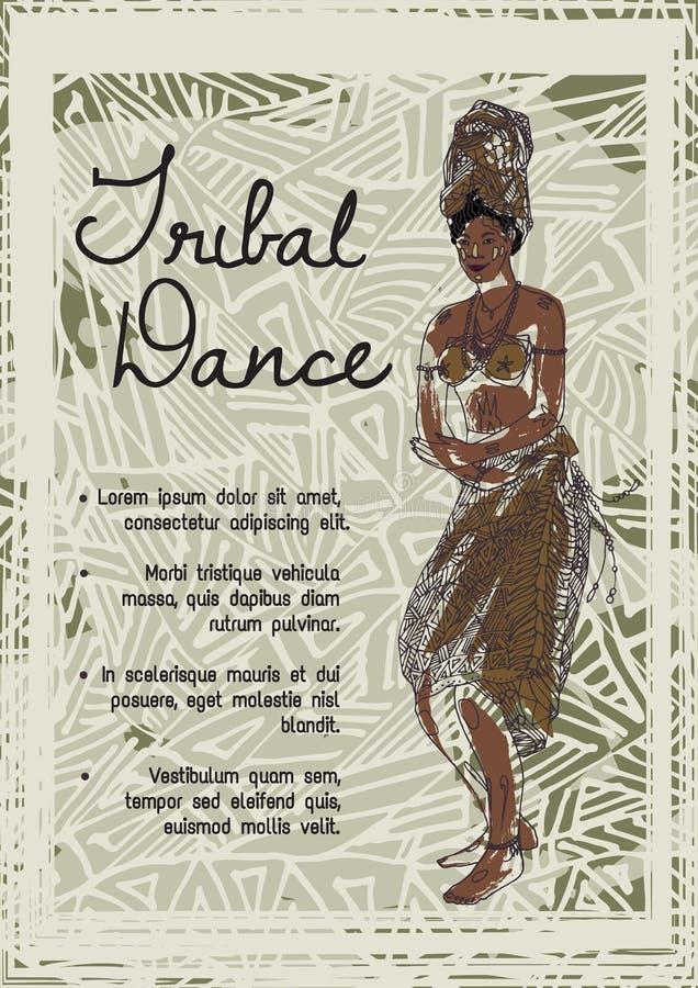 dança tribal Mulher africana da dança na roupa tradicional na origem étnica Imagem nativa do vetor ilustração do vetor