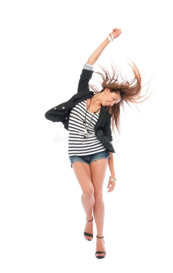 Dança triguenha da mulher do corpo cheio bonito fotografia de stock