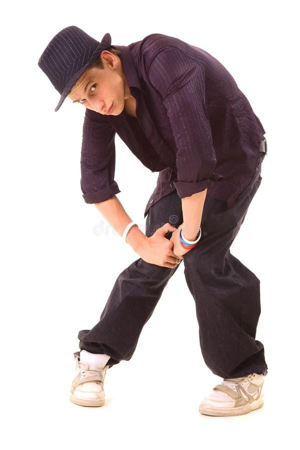 Dançarino à moda do jazz no chapéu foto de stock