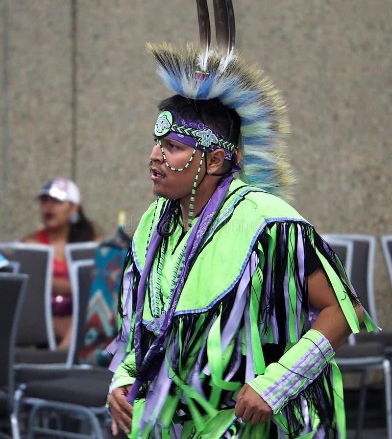 Dançarino aborígene At Pow Wow fotos de stock royalty free