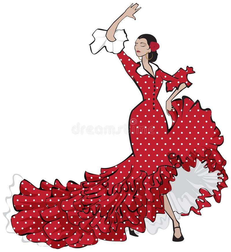Dançarino aciganado espanhol do flamenco ilustração do vetor