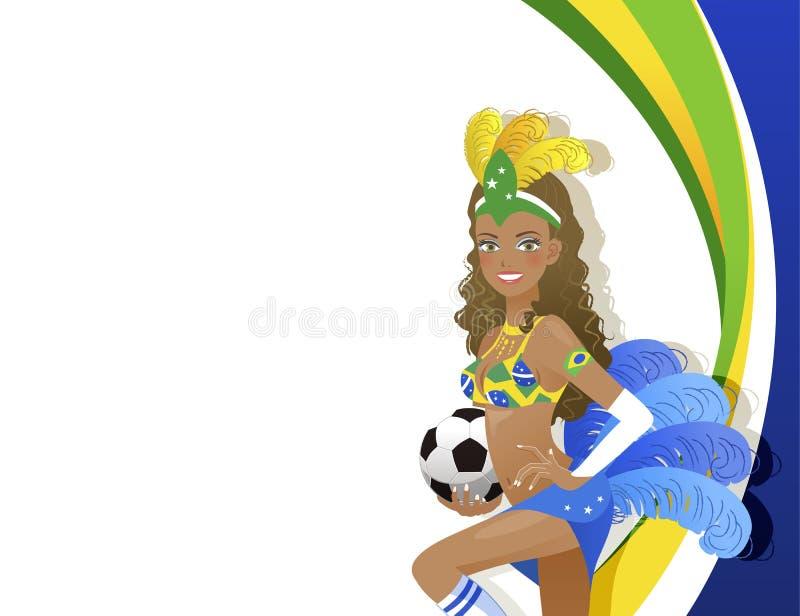 Dançarino atrativo do carnaval que guarda a bola de futebol ilustração royalty free