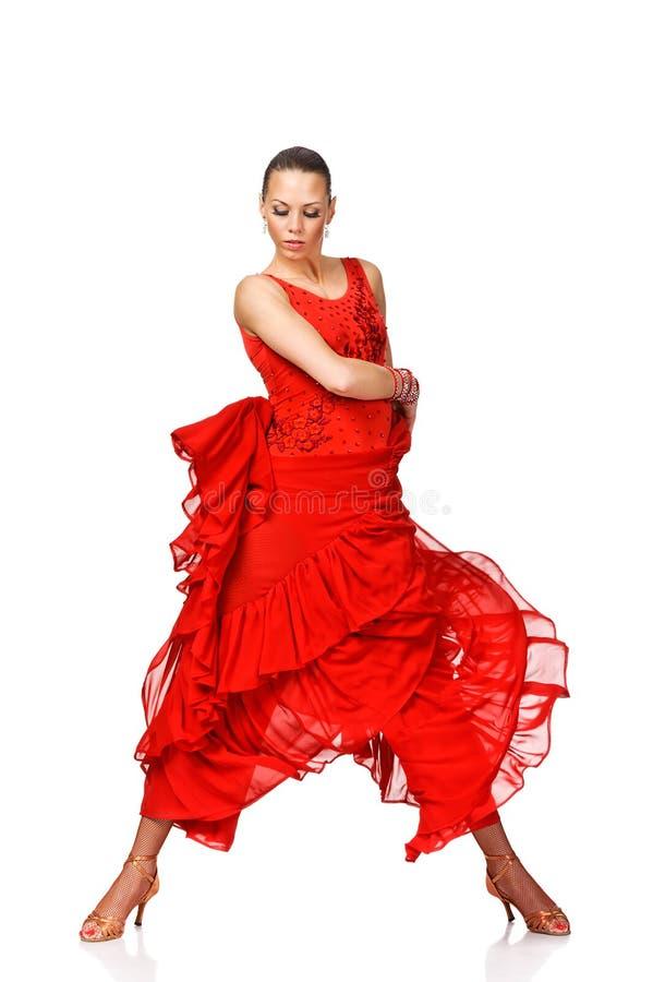 Dançarino bonito do Latino da jovem mulher na ação. Iso fotografia de stock royalty free
