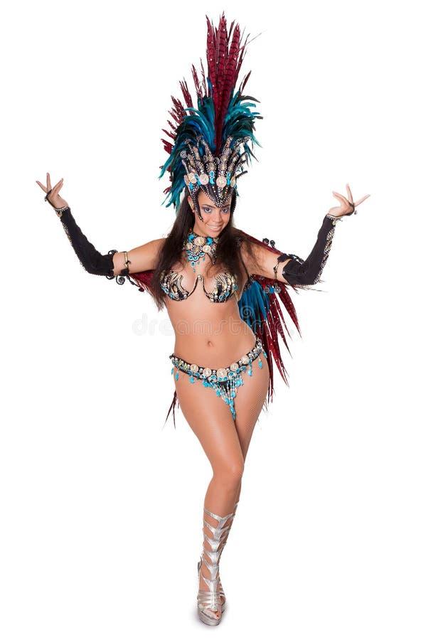 Dançarino bonito do samba, comprimento completo, isolado no branco fotografia de stock
