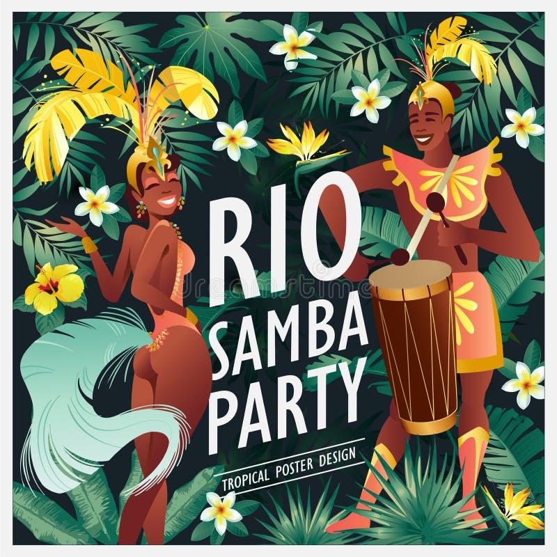Dançarino brasileiro do samba O carnaval nas meninas e no indivíduo de Rio de janeiro que vestem um traje do festival está dançan ilustração stock