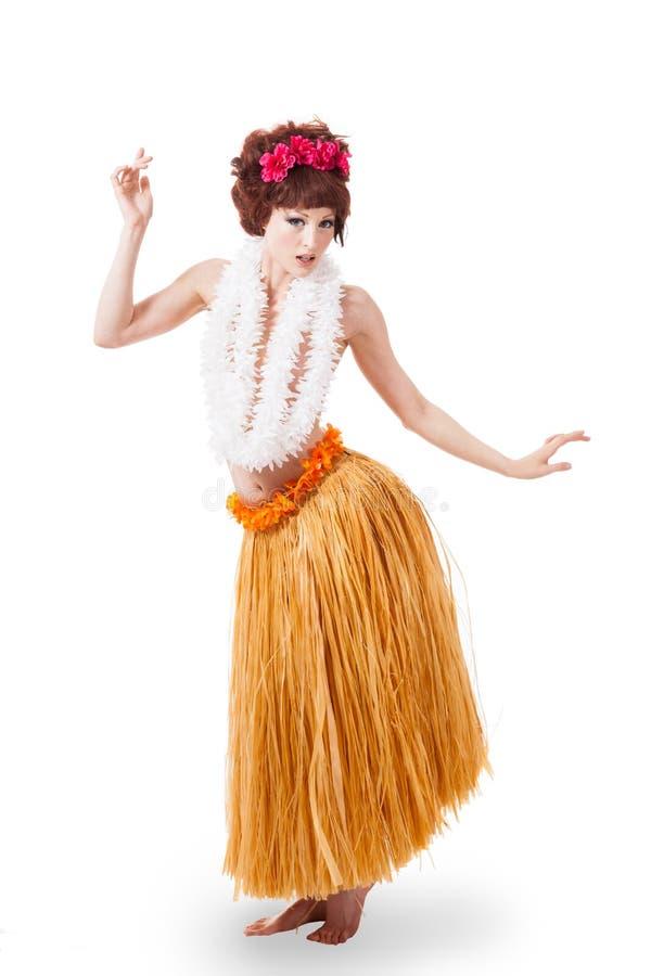 Dançarino caucasiano novo do hula imagem de stock