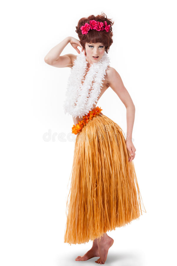 Dançarino caucasiano novo do hula imagem de stock royalty free