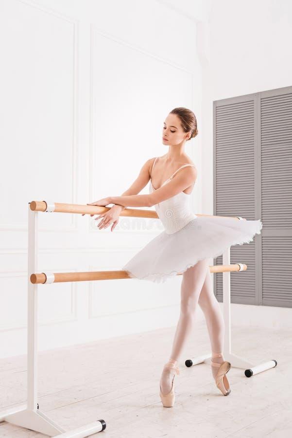 Dançarino clássico surpreendente que levanta na ponta do pé fotos de stock