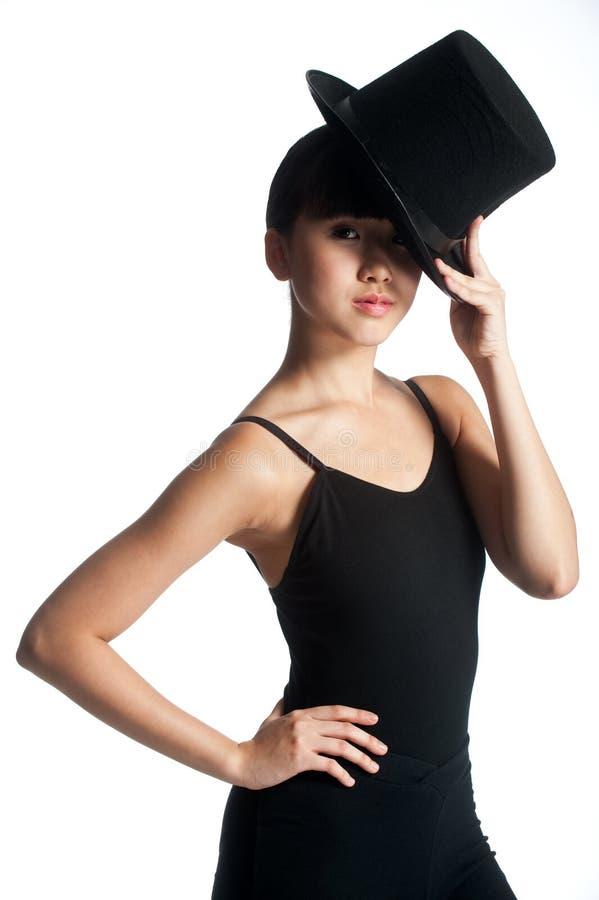 Dançarino com chapéu superior imagens de stock