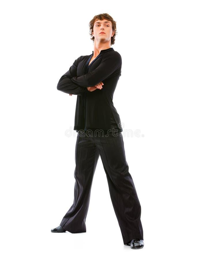 Dançarino considerável do latino na ação no branco imagem de stock