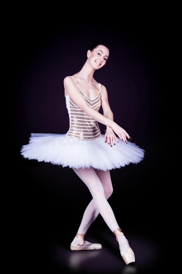 Dançarino da bailarina no tutu branco fotografia de stock