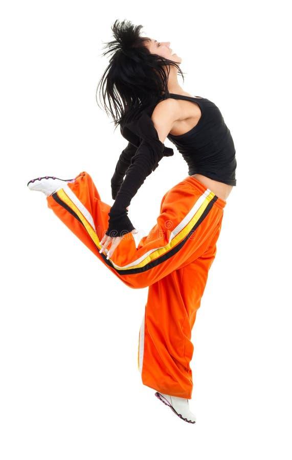 Dançarino da mulher no pose de salto fotografia de stock