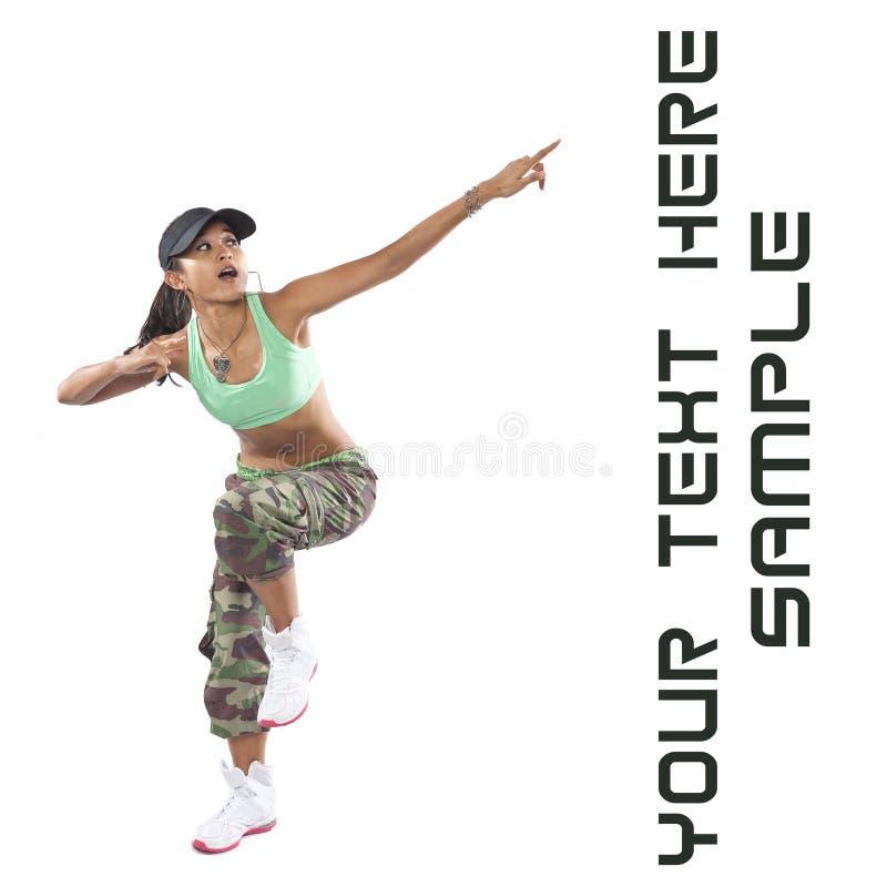 Dançarino da mulher no vestuário do lúpulo do quadril fotos de stock royalty free