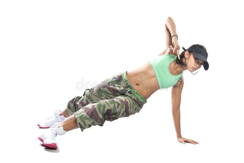 Dançarino da mulher no vestuário do lúpulo do quadril fotografia de stock royalty free