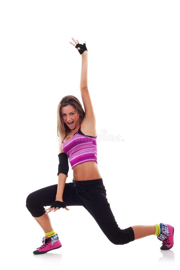 Dançarino da mulher no vestuário do lúpulo do quadril imagens de stock royalty free