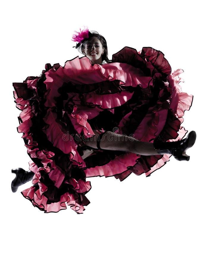 Dançarino da mulher que dança o cancan francês fotografia de stock