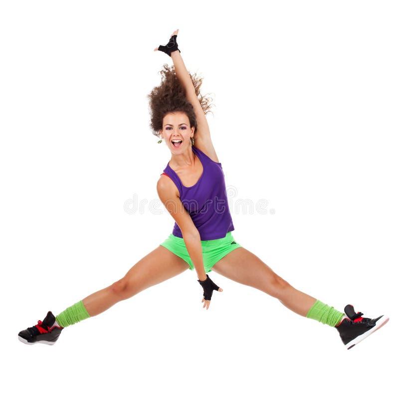 Dançarino da mulher que salta e que dança foto de stock royalty free