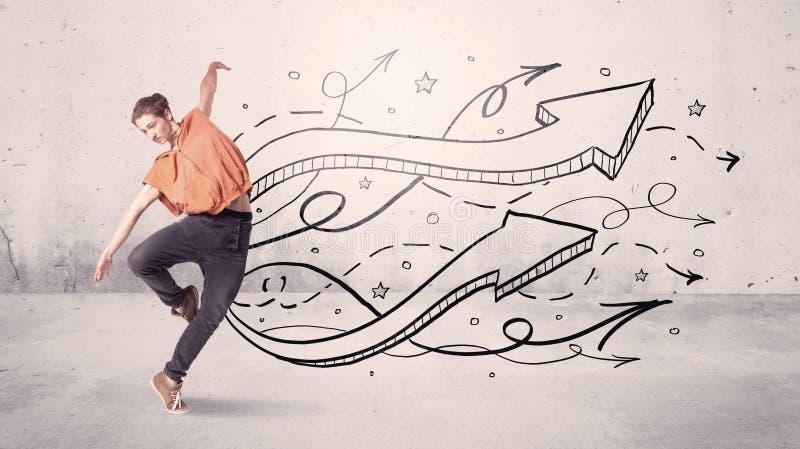 Dançarino da rua com setas e estrelas fotos de stock