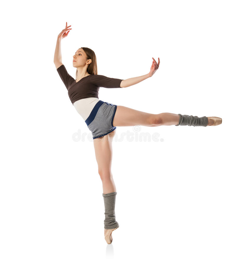 Dançarino de bailado bonito que levanta no estúdio fotos de stock