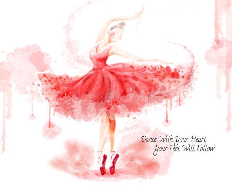 Dançarino de bailado da aquarela ilustração royalty free
