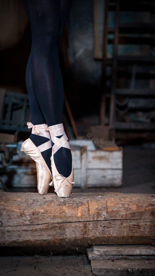 Dançarino de bailado em um feixe imagem de stock