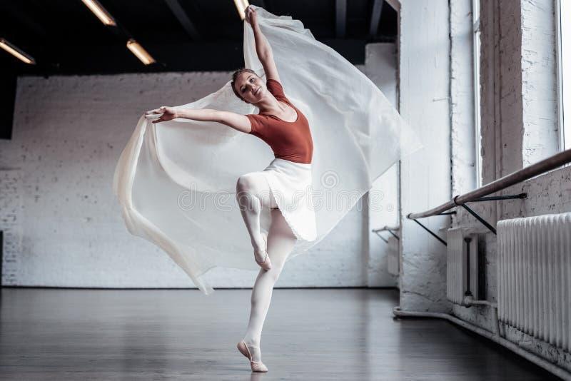 Dançarino de bailado fêmea especializado bonito que faz piruetas imagem de stock royalty free
