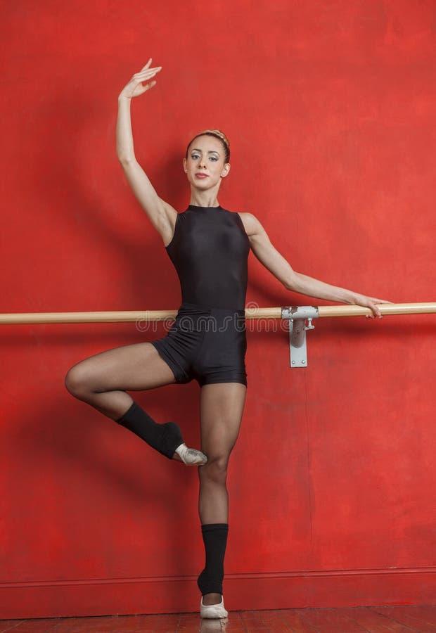 Dançarino de bailado fêmea novo Practicing At Bar fotografia de stock