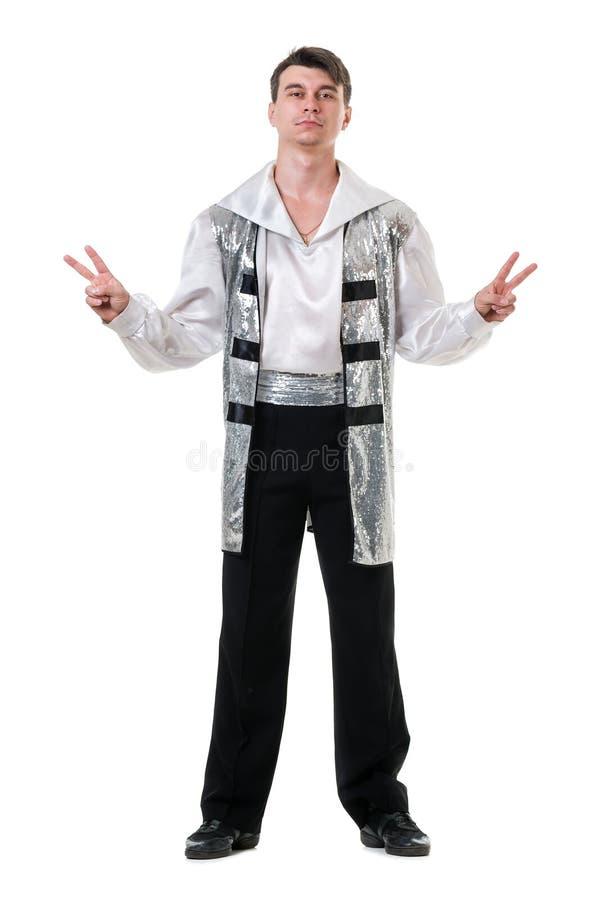 Dançarino de bailado moderno novo e à moda, isolado no branco Corpo cheio imagens de stock