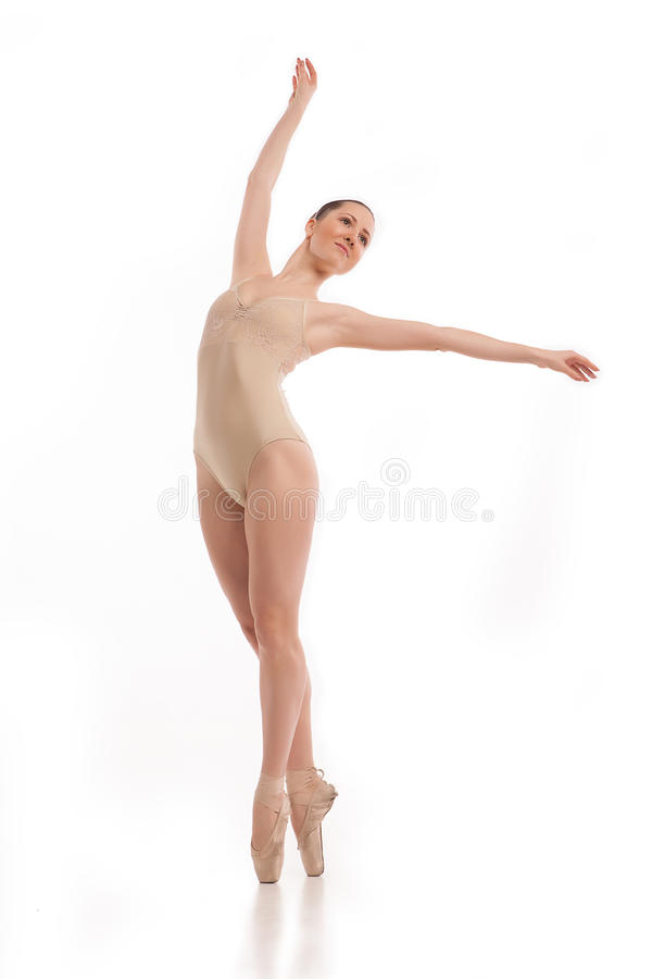 Dançarino de bailado moderno novo isolado no branco fotos de stock