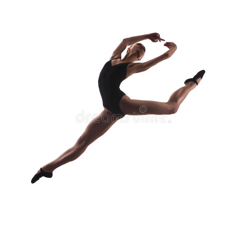 Salto novo do dançarino de bailado moderno foto de stock
