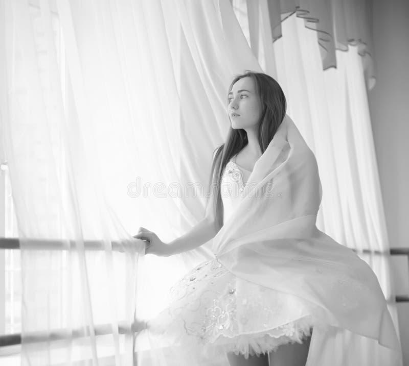 Dançarino de bailado novo em um aquecimento A bailarina está preparando-se a fotografia de stock royalty free