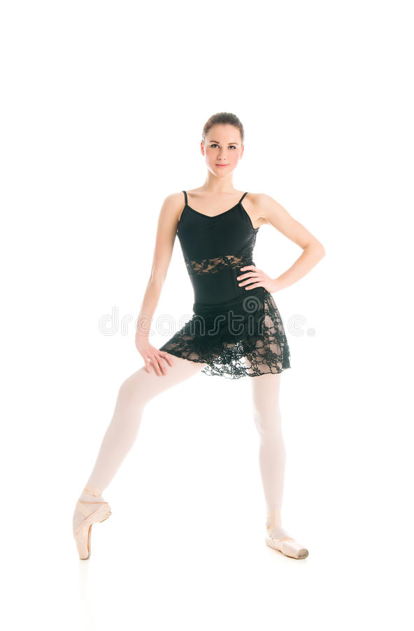 Dançarino de bailado novo que levanta no fundo branco imagem de stock royalty free