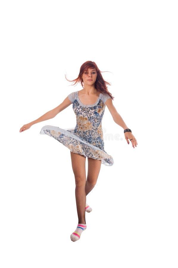 Dançarino de cabelo vermelho no branco foto de stock royalty free