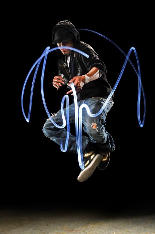 Dançarino de Hip Hop com luzes do diodo emissor de luz imagem de stock royalty free