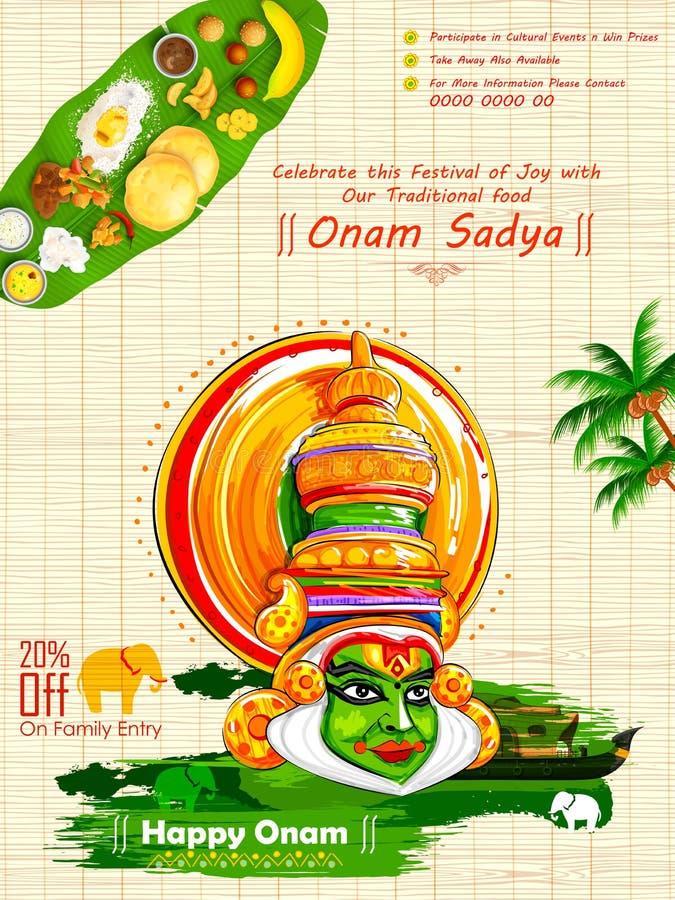Dançarino de Kathakali no fundo para o festival feliz de Onam da Índia sul Kerala ilustração do vetor