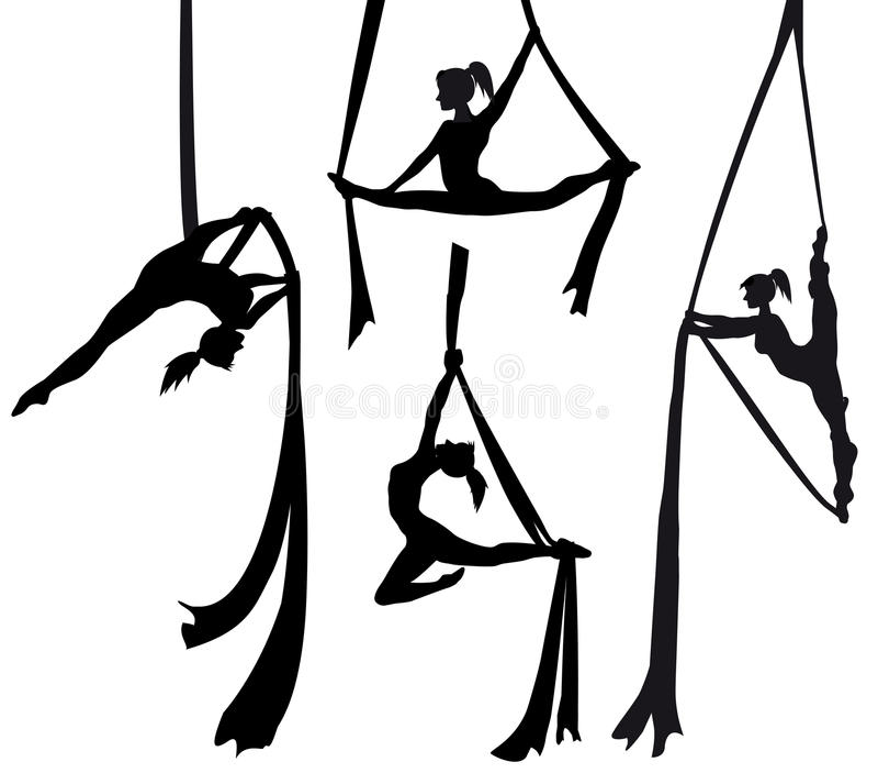 Dançarino de seda aéreo na silhueta ilustração stock