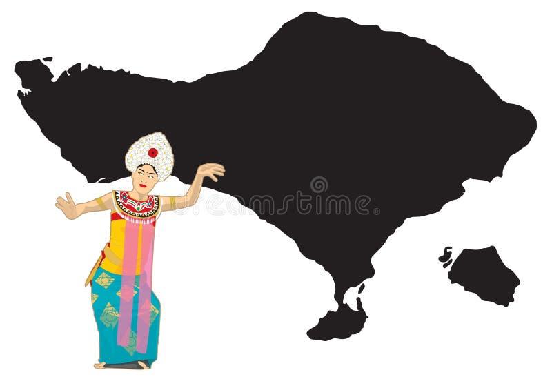 Dançarino do Balinese e mapa de bali ilustração do vetor