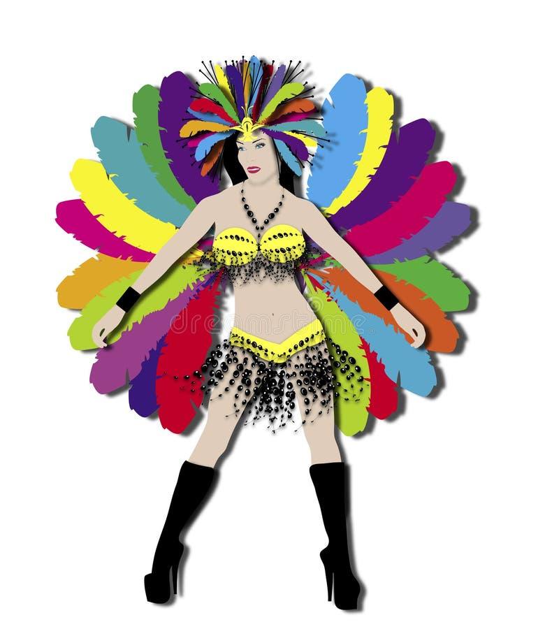 Dançarino do carnaval do arco-íris ilustração stock