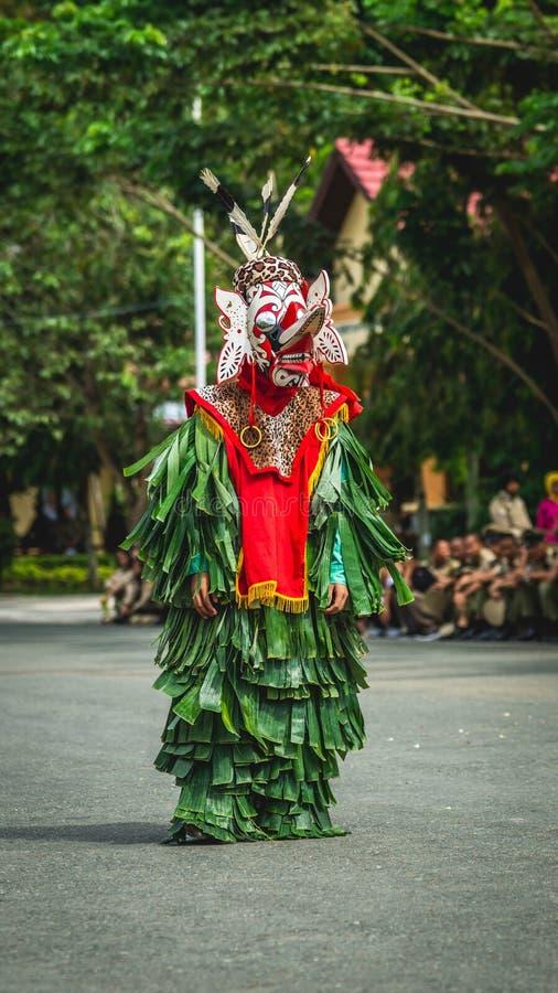 Dançarino do Dayak de Hudoq, tribo nativo de Bornéu fotos de stock