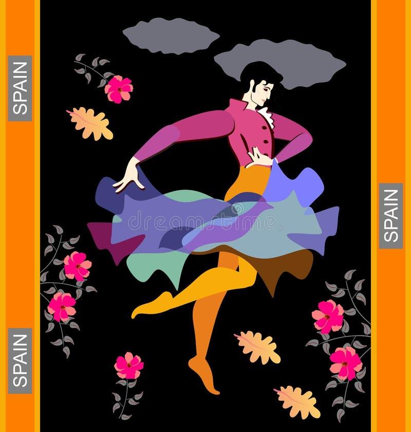 Dançarino do flamenco em danças nacionais espanholas do vestido com o casaco na forma do pássaro de voo contra um céu noturno pre ilustração stock