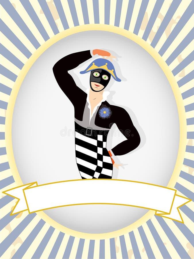 Dançarino do Harlequin que levanta a etiqueta em branco do produto brilhante ilustração stock