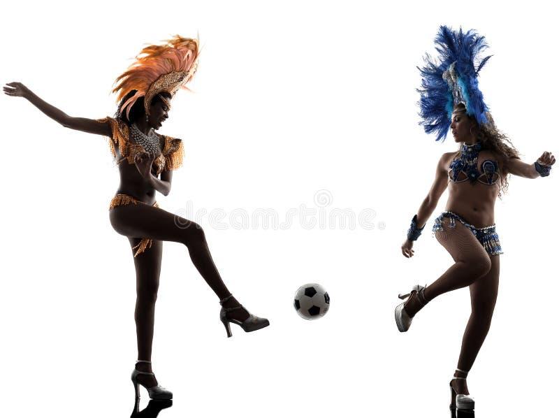 Dançarino do samba das mulheres que joga a silhueta do futebol imagens de stock