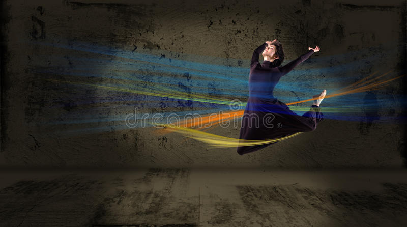 Dançarino, em um fundo abstrato. colagem imagens de stock