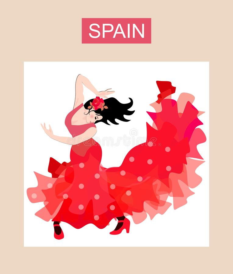 Dançarino espanhol do flamenco - menina vestida no vestido vermelho longo do às bolinhas Cole??o bonita ilustração royalty free