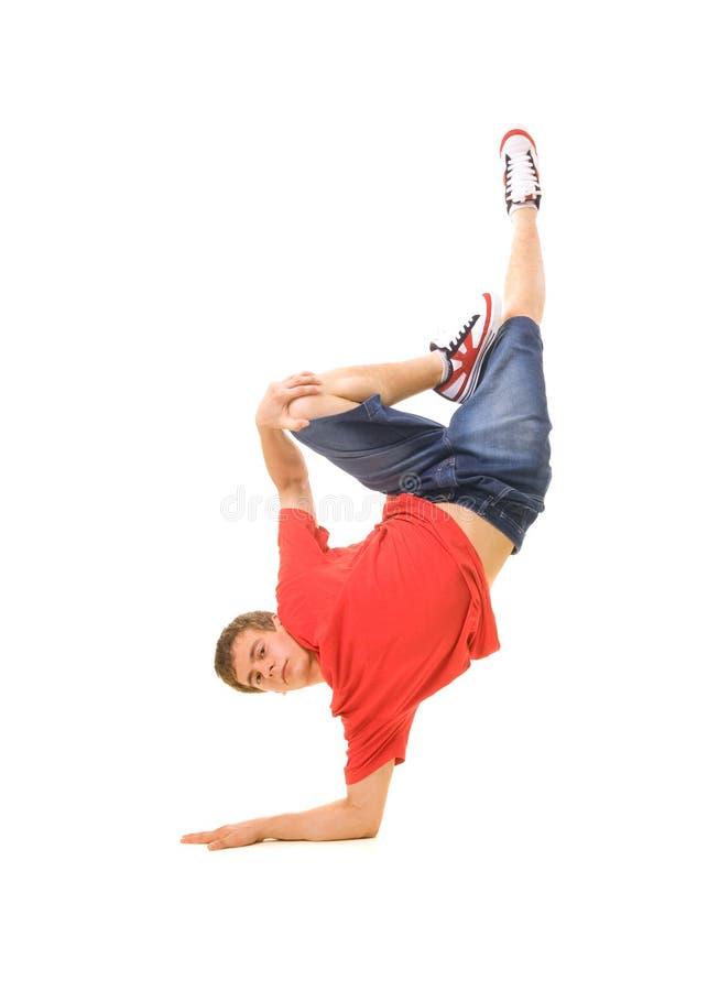 Dançarino fresco no t-shirt vermelho foto de stock