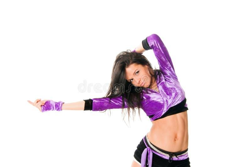 Dançarino go-go bonito no branco imagem de stock royalty free