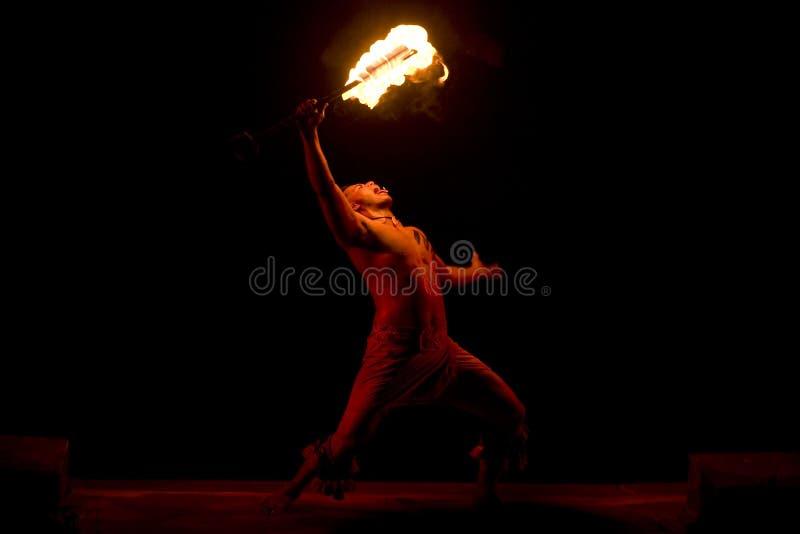 Dançarino havaiano 2534 do incêndio imagem de stock royalty free